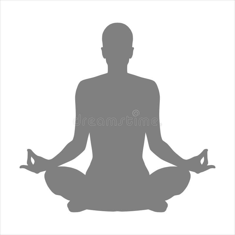 Раздумье представления в йоге иллюстрация вектора