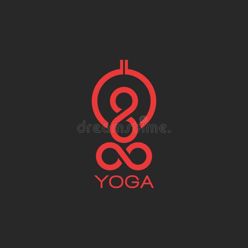 Раздумье человеческого тела конспекта силуэта логотипа представления йоги, международная эмблема плаката дня йоги иллюстрация штока