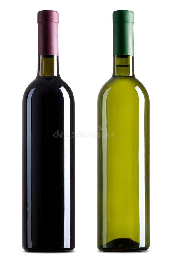 разливает красное белое вино по бутылкам стоковое изображение