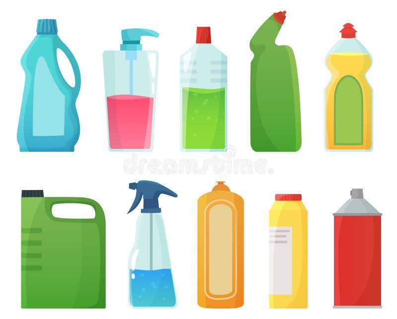 разливает тензид по бутылкам Продукты поставок чистки, бутылка отбеливателя и пластиковый вектор мультфильма контейнеров тензидов иллюстрация штока