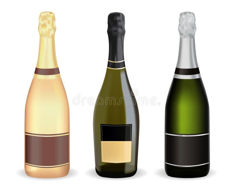 разливает шампанское по бутылкам Комплект иллюстрация штока