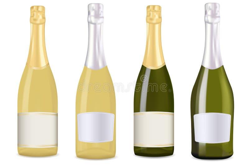 разливает шампанское по бутылкам иллюстрация штока
