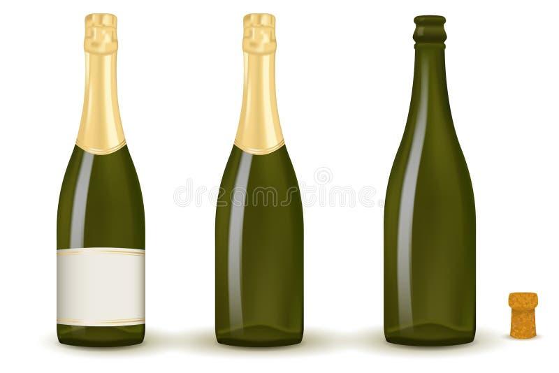 разливает шампанское по бутылкам бесплатная иллюстрация