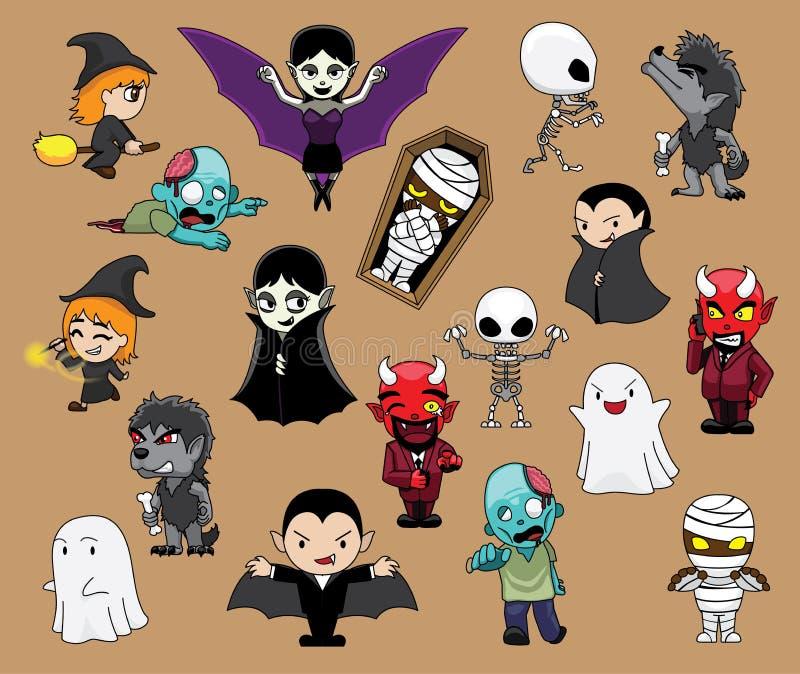 Различная иллюстрация вектора шаржа ведьмы призрака дьявола Дракула мумии оборотня характеров хеллоуина милая бесплатная иллюстрация