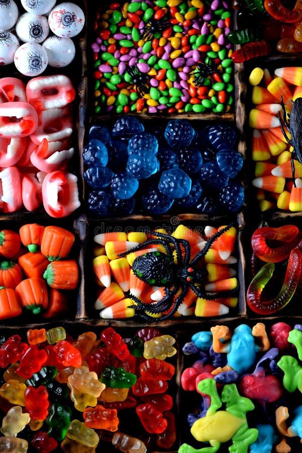 Различная конфета - лягушки, медведи, черви, тыквы, глаза, семена в поливе, челюсти, тыквы на хеллоуин стоковое фото