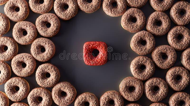 Различная концепция, donuts куба, 3d представьте иллюстрация штока