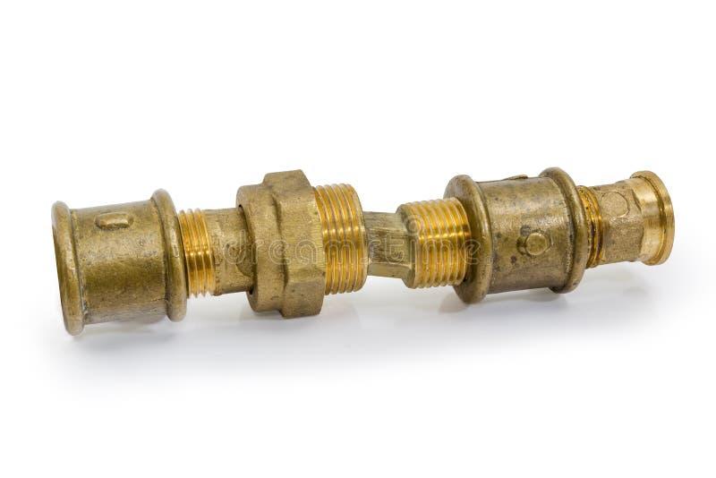 Различная латунь продела нитку компоненты трубопровода соединенные совместно стоковое фото rf