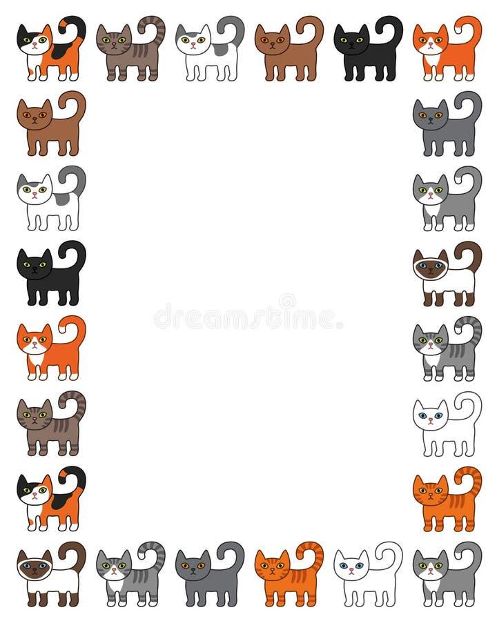 Различная рамка границы котов Милая и смешная иллюстрация вектора кота киски мультфильма установила с различными породами кота Де иллюстрация штока