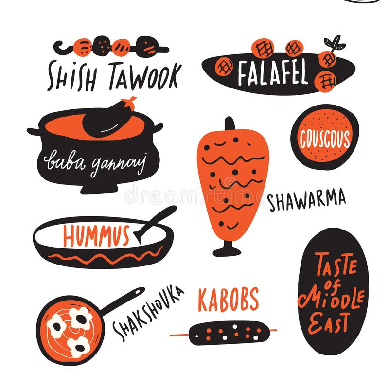 Различная традиционная ближневосточная еда Иллюстрация и литерность смешной руки вычерченная сделанные в векторе Элементы меню иллюстрация штока