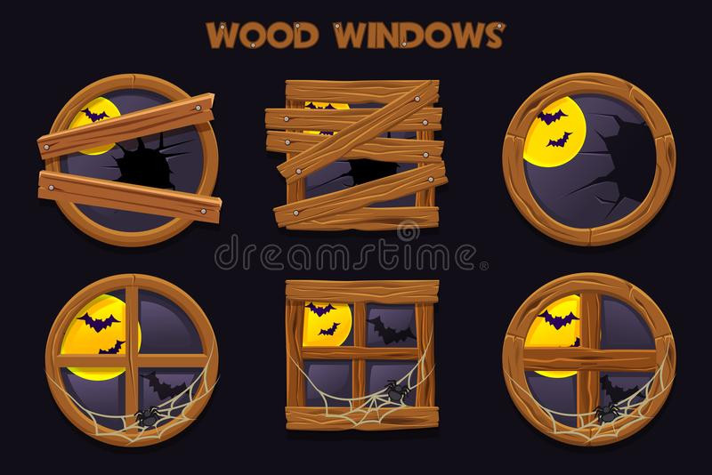 Различная форма и старые разрушенные деревянные окна, объекты здания шаржа с паутинами и полнолуние иллюстрация штока