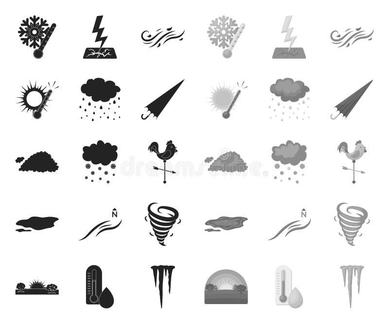 Различная чернота погоды mono значки в установленном собрании для дизайна Знаки и характеристики символа вектора погоды бесплатная иллюстрация
