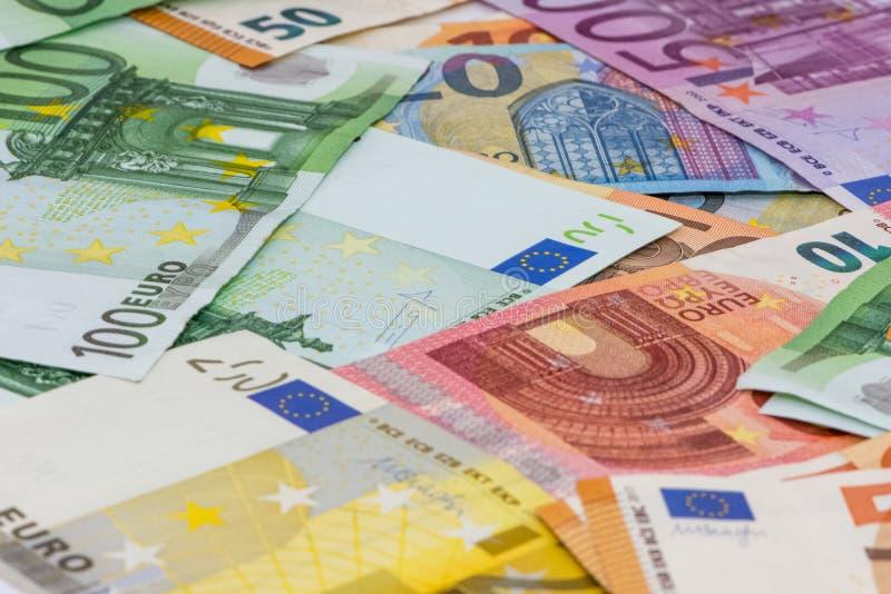 Различное значение счетов евро бумажных стоковое изображение rf