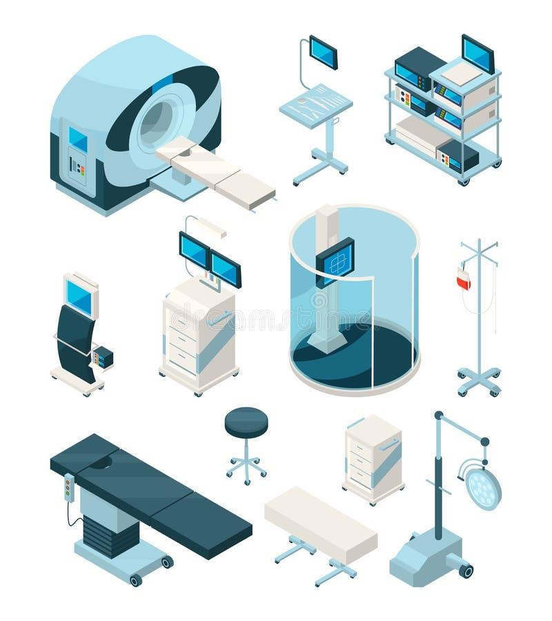Различное оборудование больницы Медицинские таблицы и другие приборы иллюстрация штока