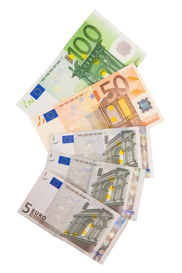 Различные банкноты евро от 5 к евро 100 стоковые изображения