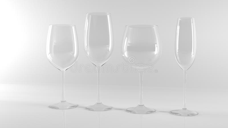 Различные бокалы на белой предпосылке стоковые фото