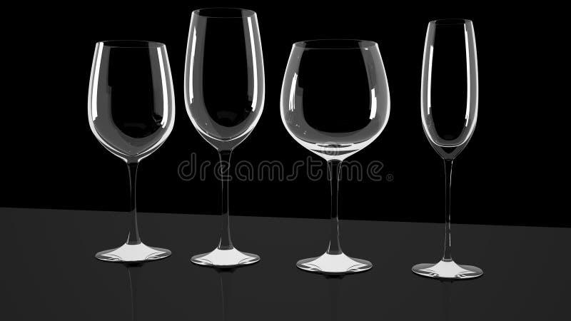 Различные бокалы на сияющем стол стоковая фотография
