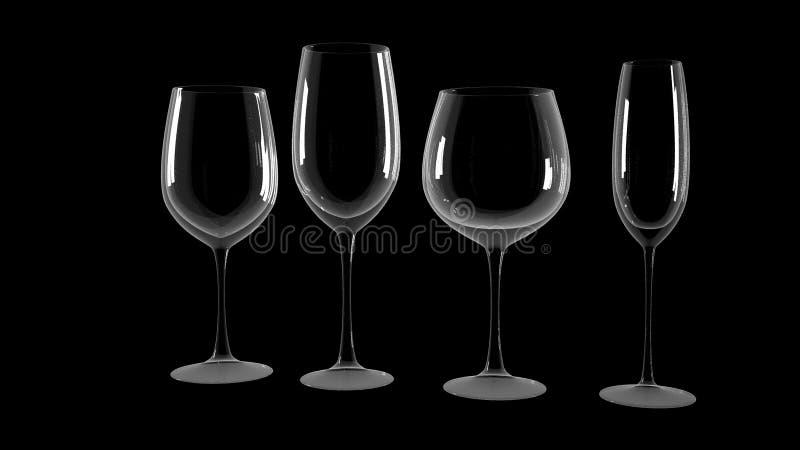 Различные бокалы на черной предпосылке стоковое изображение