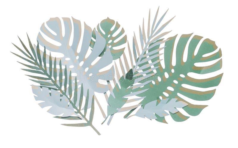 Различные бумажные тропические листья составлять, изолированный на белой предпосылке стоковое фото
