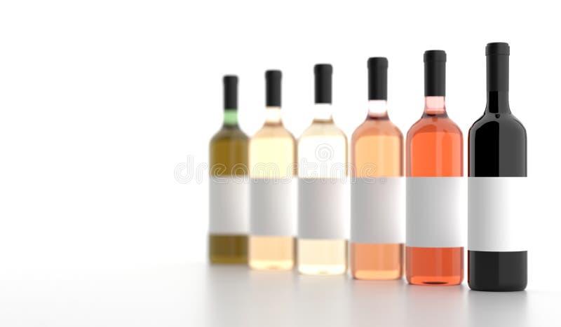 Различные бутылки вина с пустыми белыми ярлыками иллюстрация вектора
