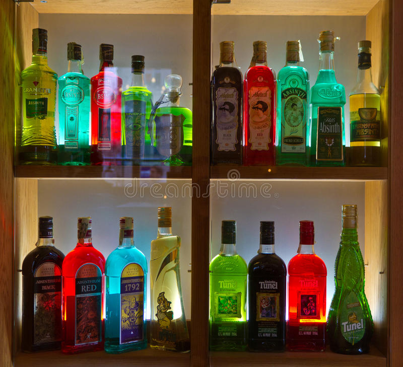 Различные бутылки Absinth стоковая фотография rf