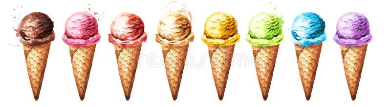Различные ветроуловители мороженого в наборе вафлей Иллюстрация акварели нарисованная рукой, изолированная на белой предпосылке иллюстрация вектора