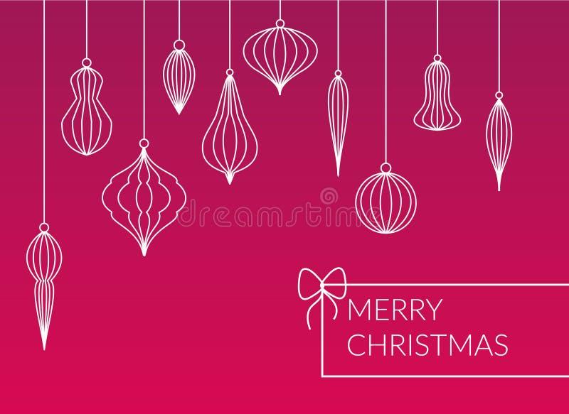 Различные виды выровняли безделушки - шарики вися набор на розовой предпосылке Открытка веселого рождества простого дизайна иллюстрация вектора