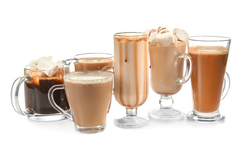 Различные виды напитков кофе на белой предпосылке стоковые фотографии rf