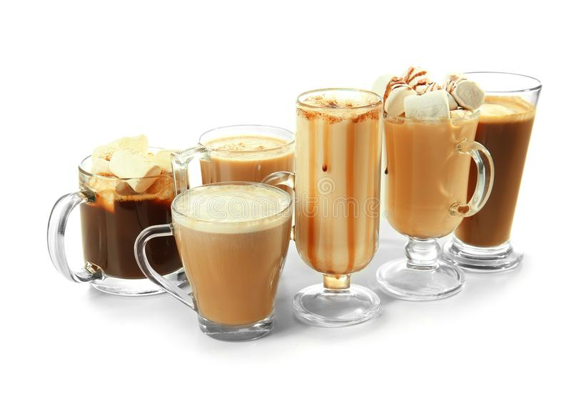 Различные виды напитков кофе на белой предпосылке стоковое фото rf