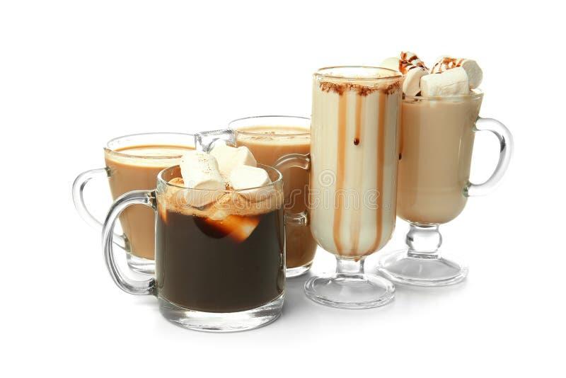 Различные виды напитков кофе на белой предпосылке стоковые изображения rf
