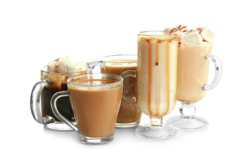 Различные виды напитков кофе на белой предпосылке стоковое изображение