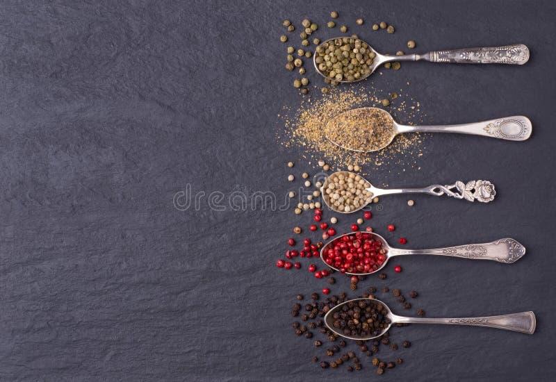 Различные виды перчинок в серебряных ложках стоковое фото