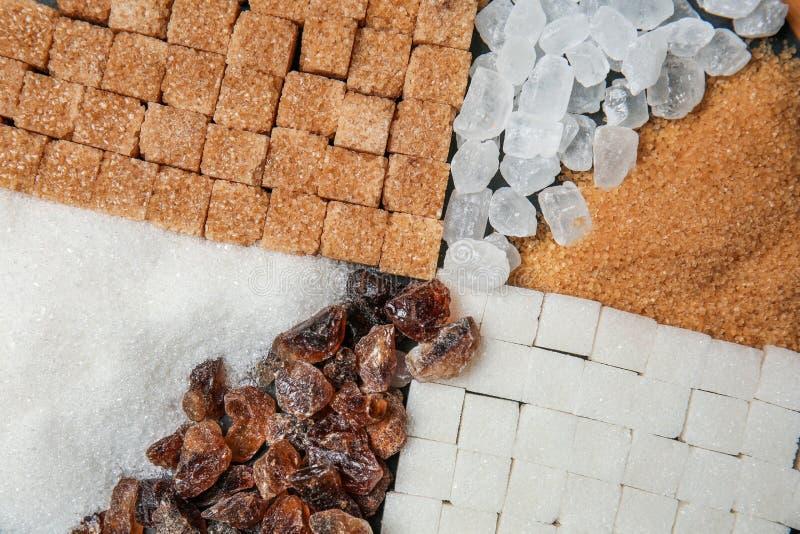 Различные виды сахара, взгляд сверху стоковая фотография