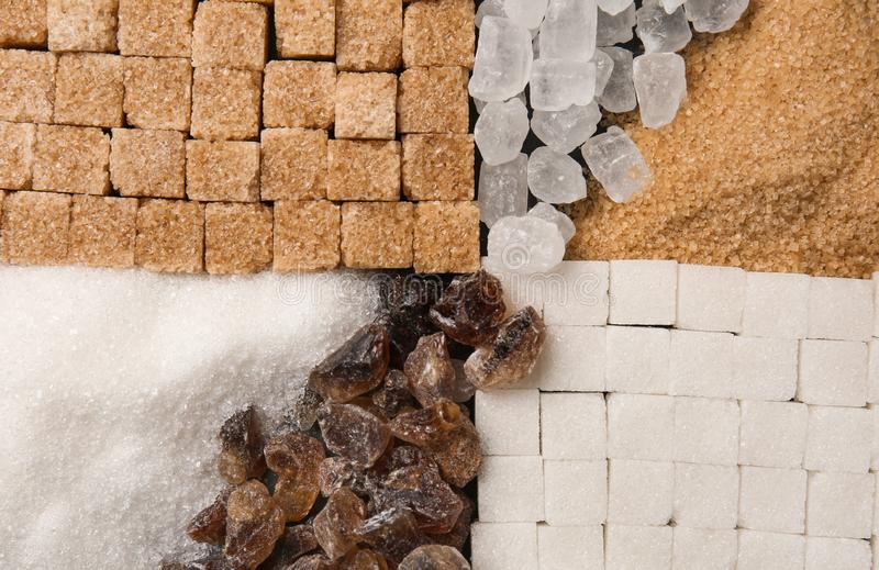 Различные виды сахара, взгляд сверху стоковое фото