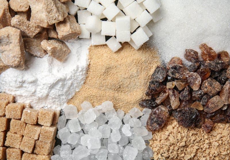 Различные виды сахара, взгляд сверху стоковое изображение