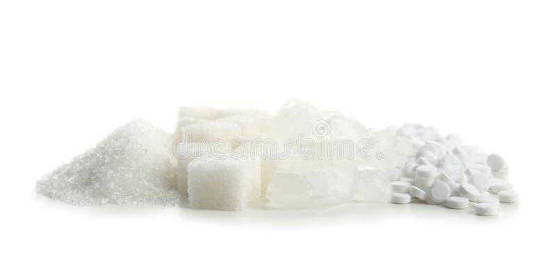 Различные виды сахара на белой предпосылке стоковые изображения rf