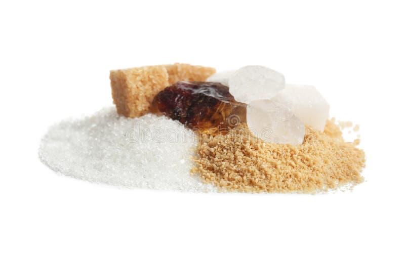 Различные виды сахара на белой предпосылке стоковая фотография