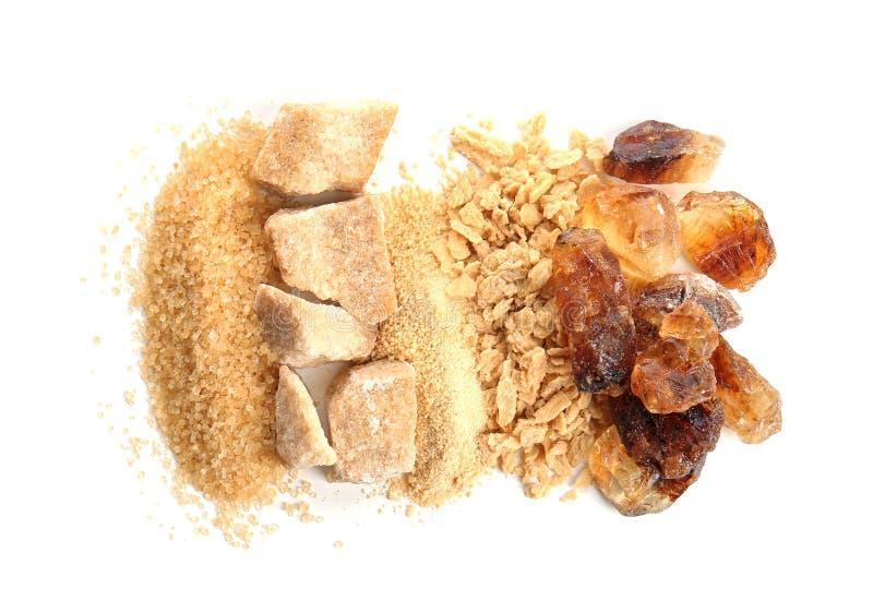 Различные виды сахара на белой предпосылке стоковые изображения