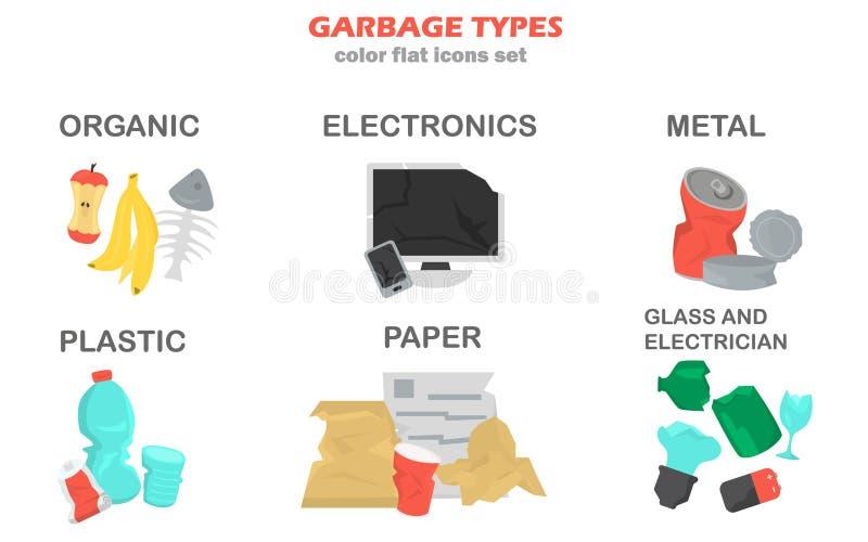 Различные виды установленных значков цвета отброса иллюстрация вектора
