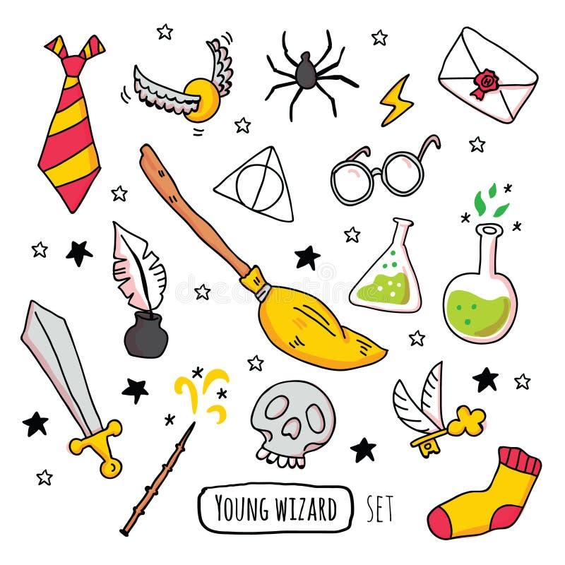 Различные волшебные элементы для ведьм иллюстрация штока