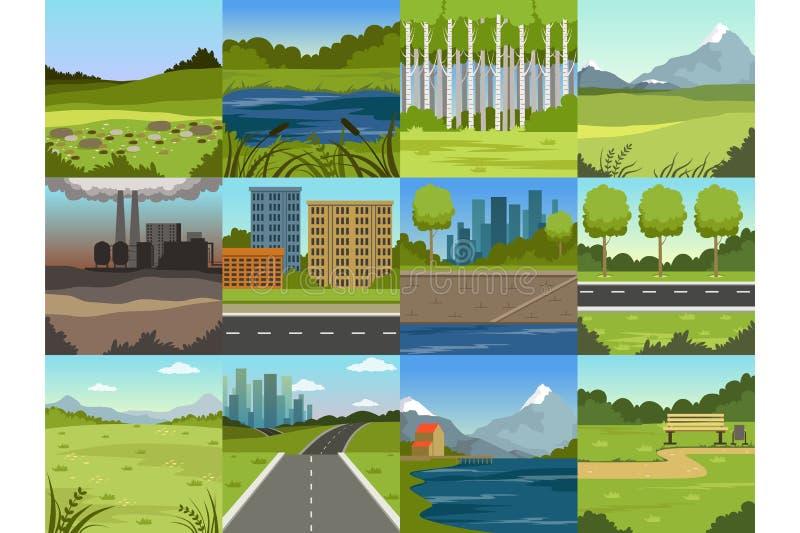 Различные естественные ландшафты лета установили, сцены города, фабрика, лес, поле, холмы, дорога, река и озеро бесплатная иллюстрация