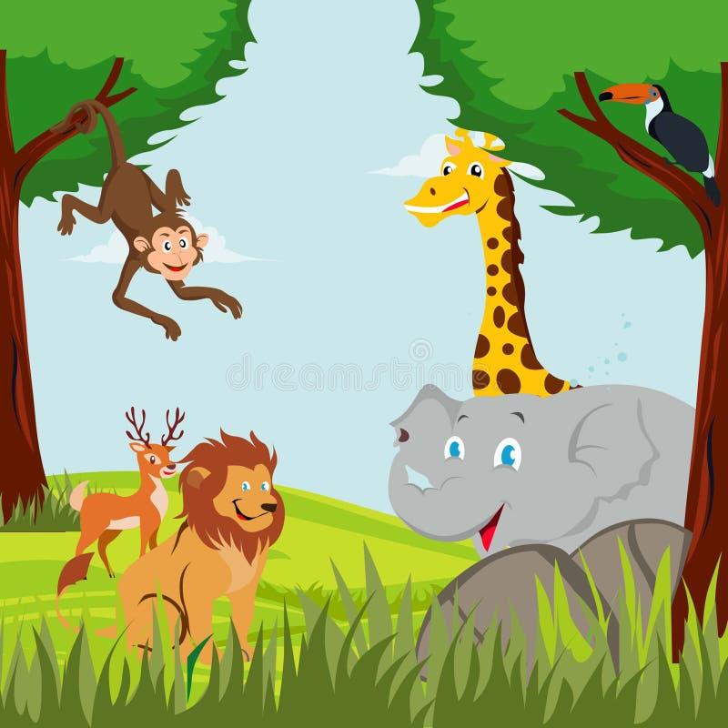 Различные животные и птицы в лесе иллюстрация штока