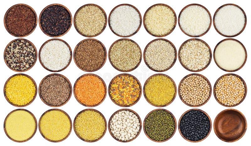 Различные зерна изолированные на белой предпосылке стоковые изображения rf