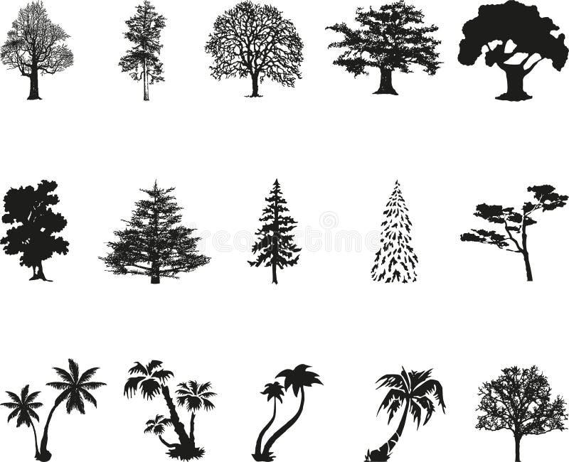 Различные значки деревьев, значки деревьев, кнопки деревьев, ярлыки стикера, кнопки, значки иллюстрация штока