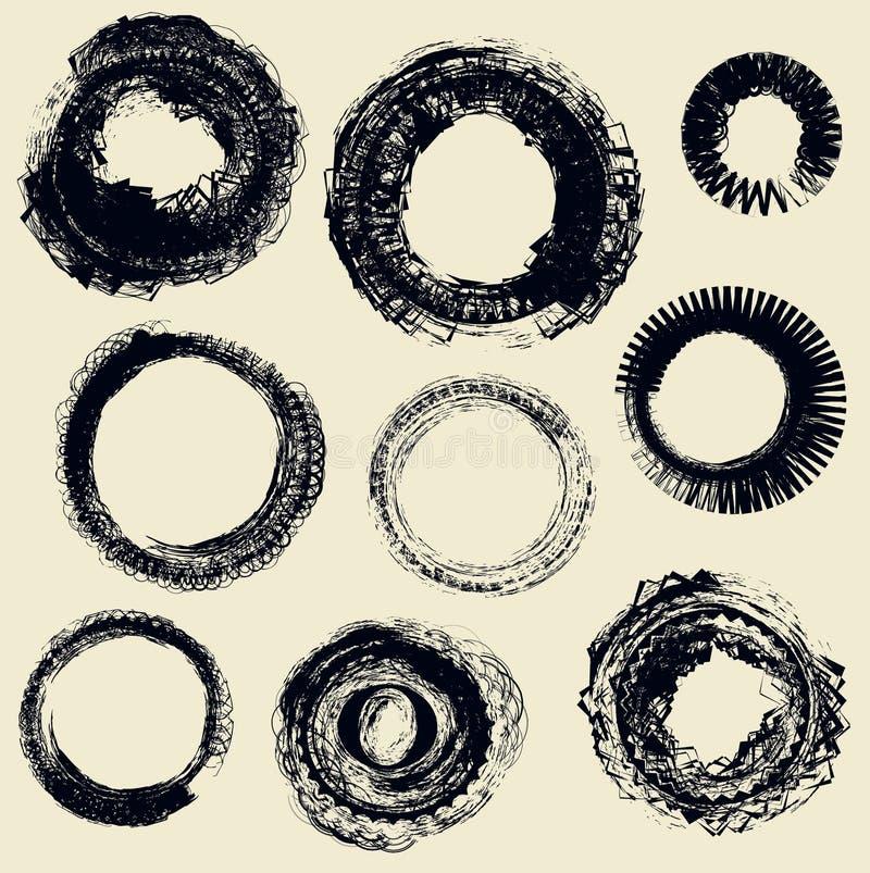 различные кольца grunge иллюстрация штока