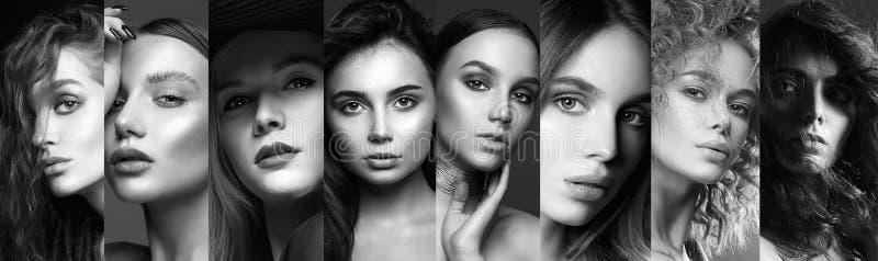 Различные красивые модели черно-белый коллаж стоковые изображения rf