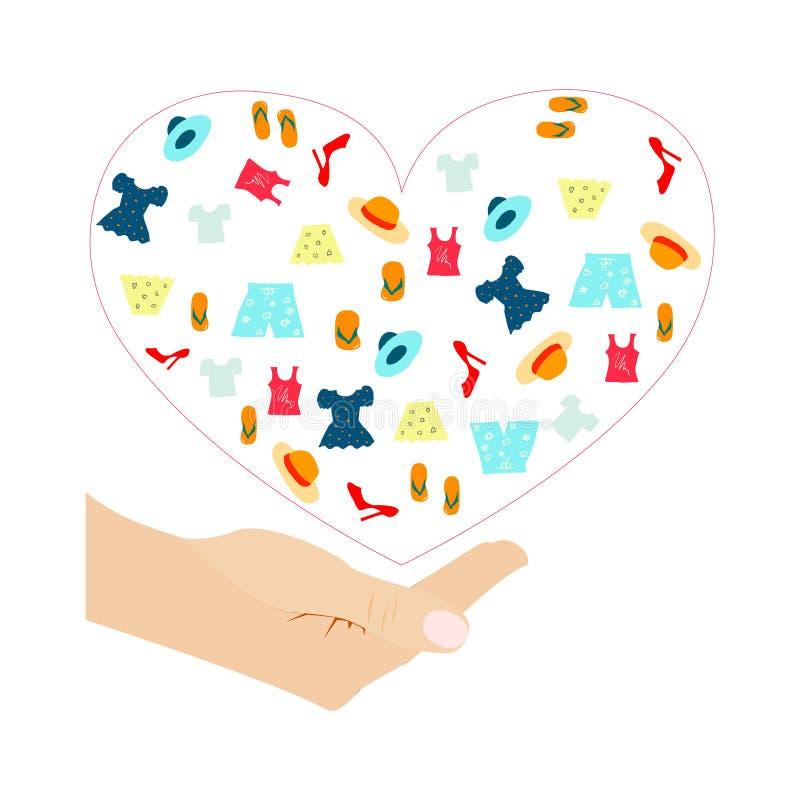 Различные красочные одежды для пожертвования обрамленные розовым сердцем под белой человеческой приданной форму чашки рукой иллюстрация штока