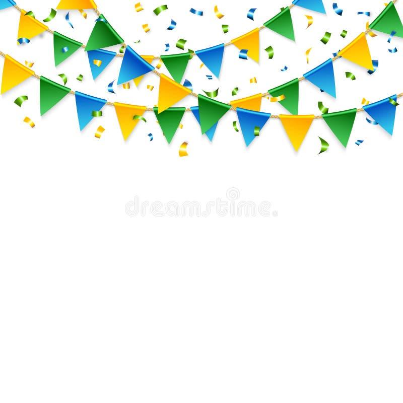Различные ленты и триангулярные флаги над белизной бесплатная иллюстрация