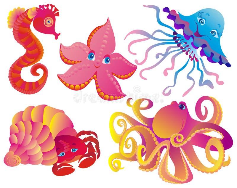 различные млекопитающие много море иллюстрация вектора