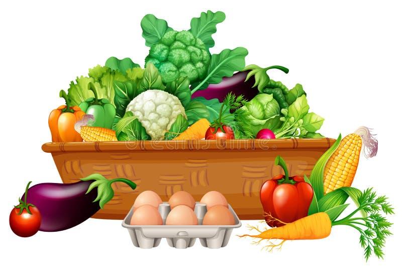 Различные овощи в корзине иллюстрация вектора