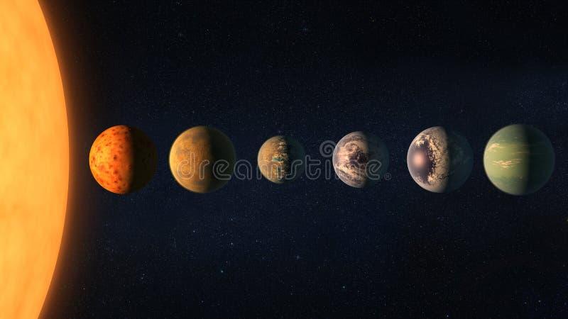 Различные планеты с большим Солнцем в космическом пространстве Элементы этого изображения поставленные NASA иллюстрация штока